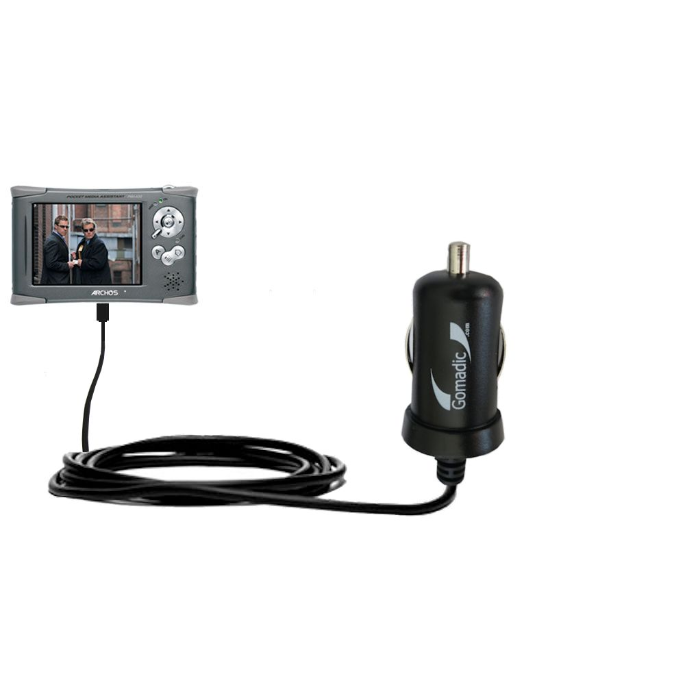 Gomadic Intelligent Compact Car / Auto DC Charger suitable for the Archos PMA 400 - 2A / 10W power at half the size. Uses Gomadic TipExchange Technology
