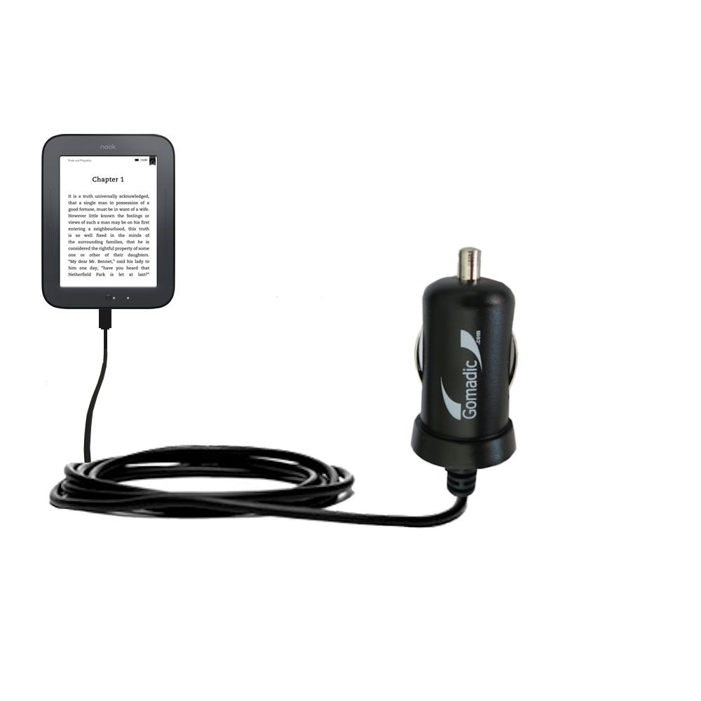 Gomadic Intelligent Compact Car / Auto DC Charger suitable for the Barnes and Noble nook Original eBook eReader - 2A / 10W power at half the size. Uses Gomadic TipExchange Technology