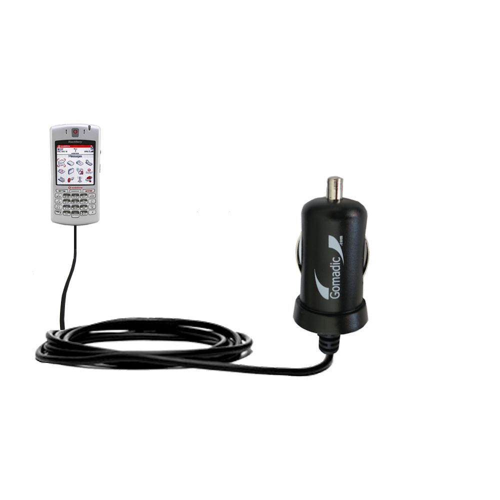 Gomadic Intelligent Compact Car / Auto DC Charger suitable for the Blackberry 7100x - 2A / 10W power at half the size. Uses Gomadic TipExchange Technology