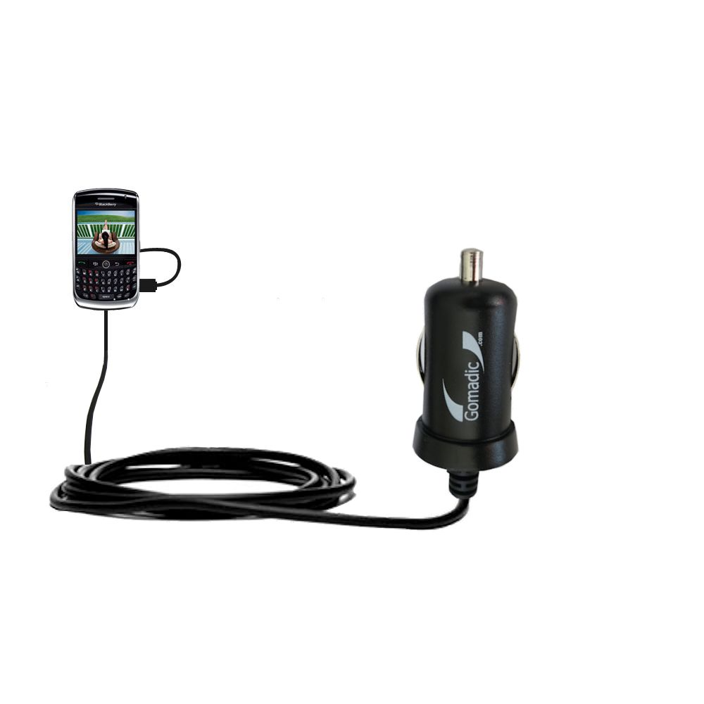 Gomadic Intelligent Compact Car / Auto DC Charger suitable for the Blackberry 8900 - 2A / 10W power at half the size. Uses Gomadic TipExchange Technology