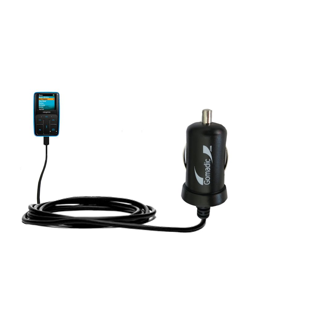 Gomadic Intelligent Compact Car / Auto DC Charger suitable for the Creative Zen Micro - 2A / 10W power at half the size. Uses Gomadic TipExchange Technology
