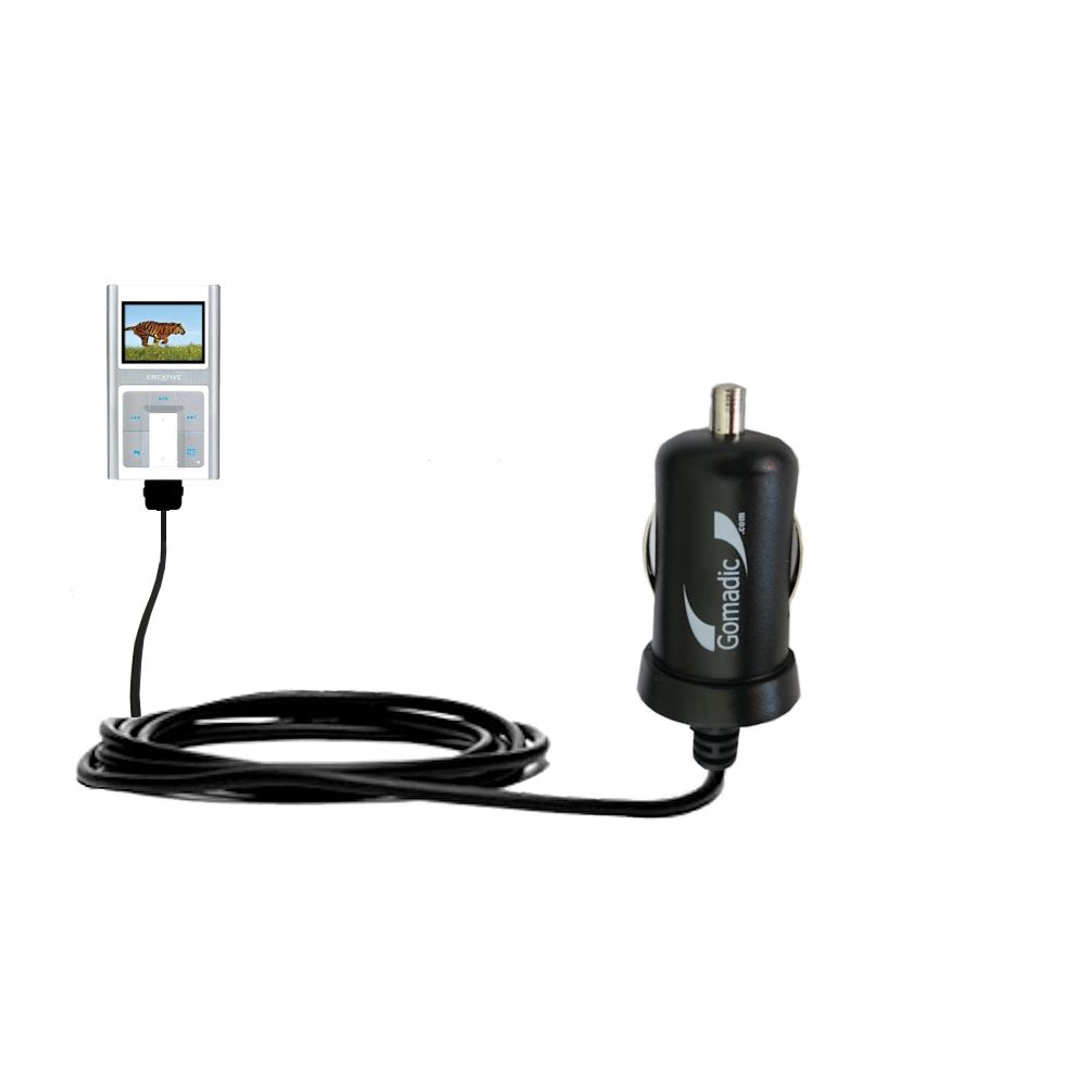 Gomadic Intelligent Compact Car / Auto DC Charger suitable for the Creative Zen Sleek Photo - 2A / 10W power at half the size. Uses Gomadic TipExchange Technology