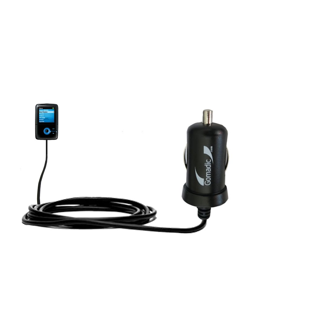 Gomadic Intelligent Compact Car / Auto DC Charger suitable for the Creative Zen V Plus - 2A / 10W power at half the size. Uses Gomadic TipExchange Technology