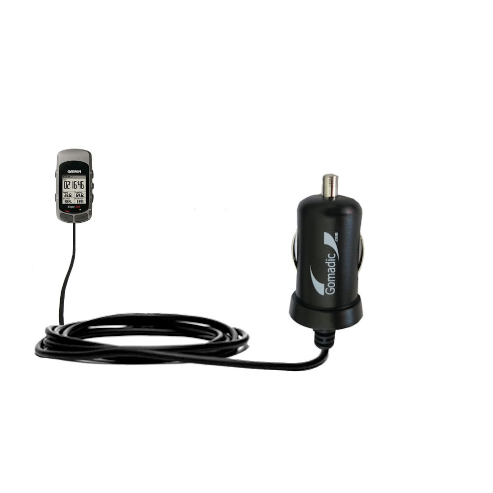 Gomadic Intelligent Compact Car / Auto DC Charger suitable for the Garmin Edge 305 - 2A / 10W power at half the size. Uses Gomadic TipExchange Technology