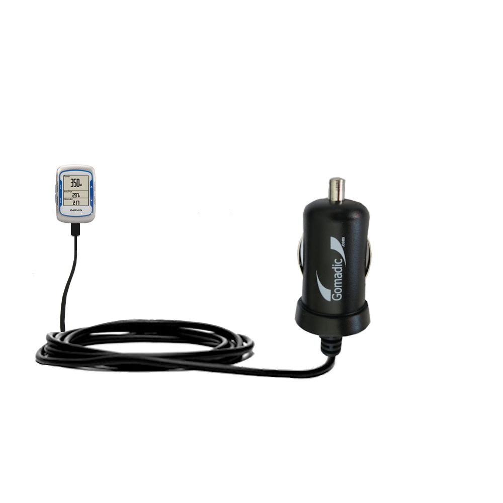 Gomadic Intelligent Compact Car / Auto DC Charger suitable for the Garmin EDGE 500 - 2A / 10W power at half the size. Uses Gomadic TipExchange Technology