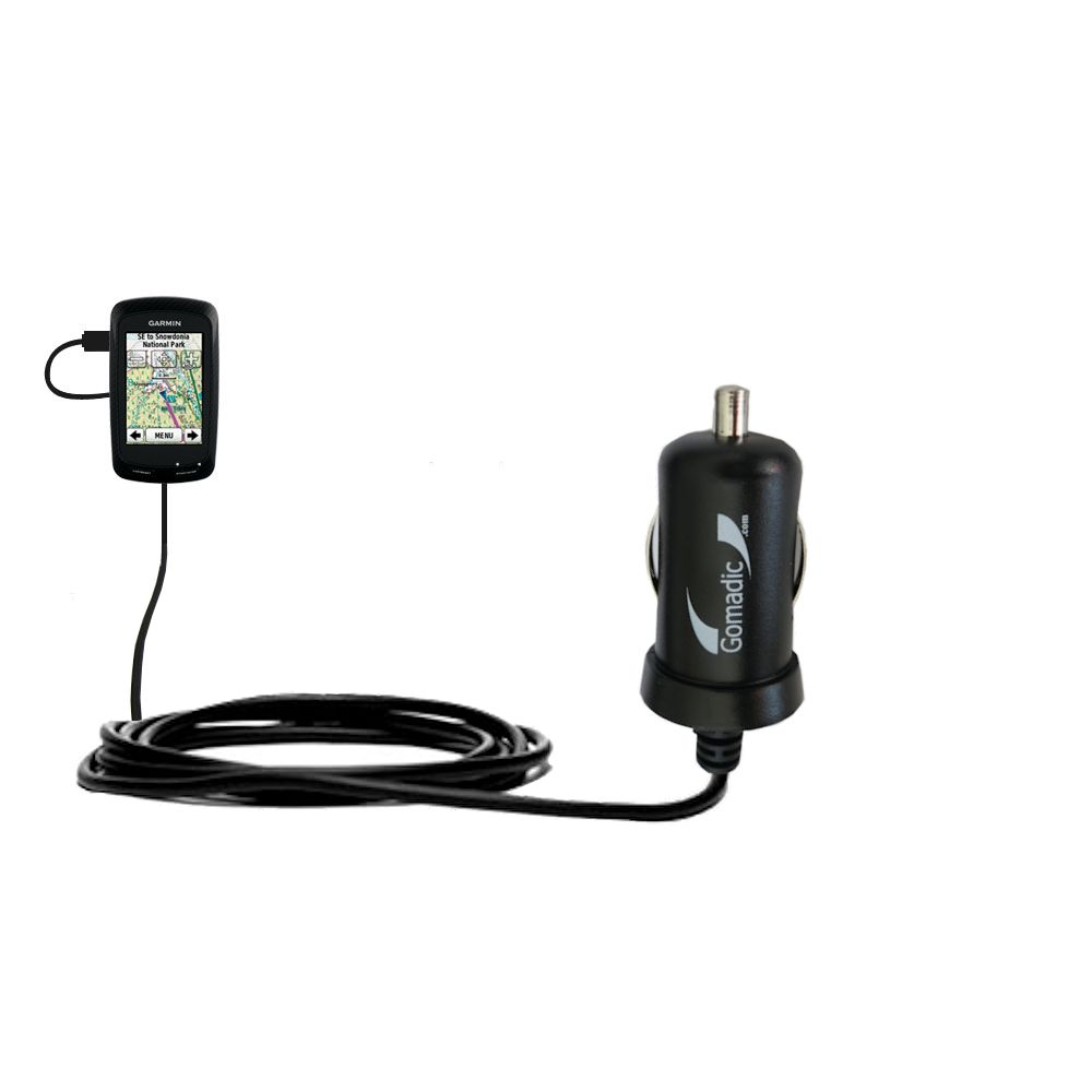 Gomadic Intelligent Compact Car / Auto DC Charger suitable for the Garmin Edge 800 - 2A / 10W power at half the size. Uses Gomadic TipExchange Technology
