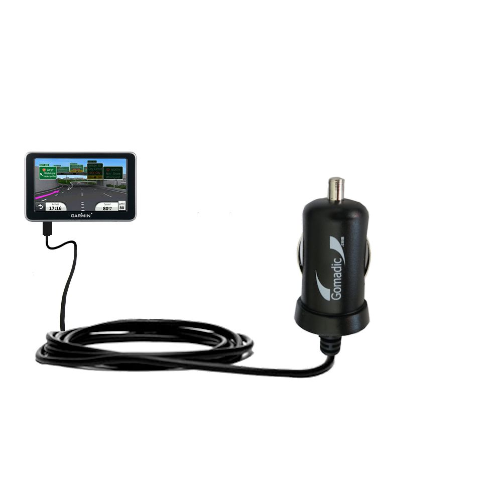 Gomadic Intelligent Compact Car / Auto DC Charger suitable for the Garmin Nuvi 2350 - 2A / 10W power at half the size. Uses Gomadic TipExchange Technology