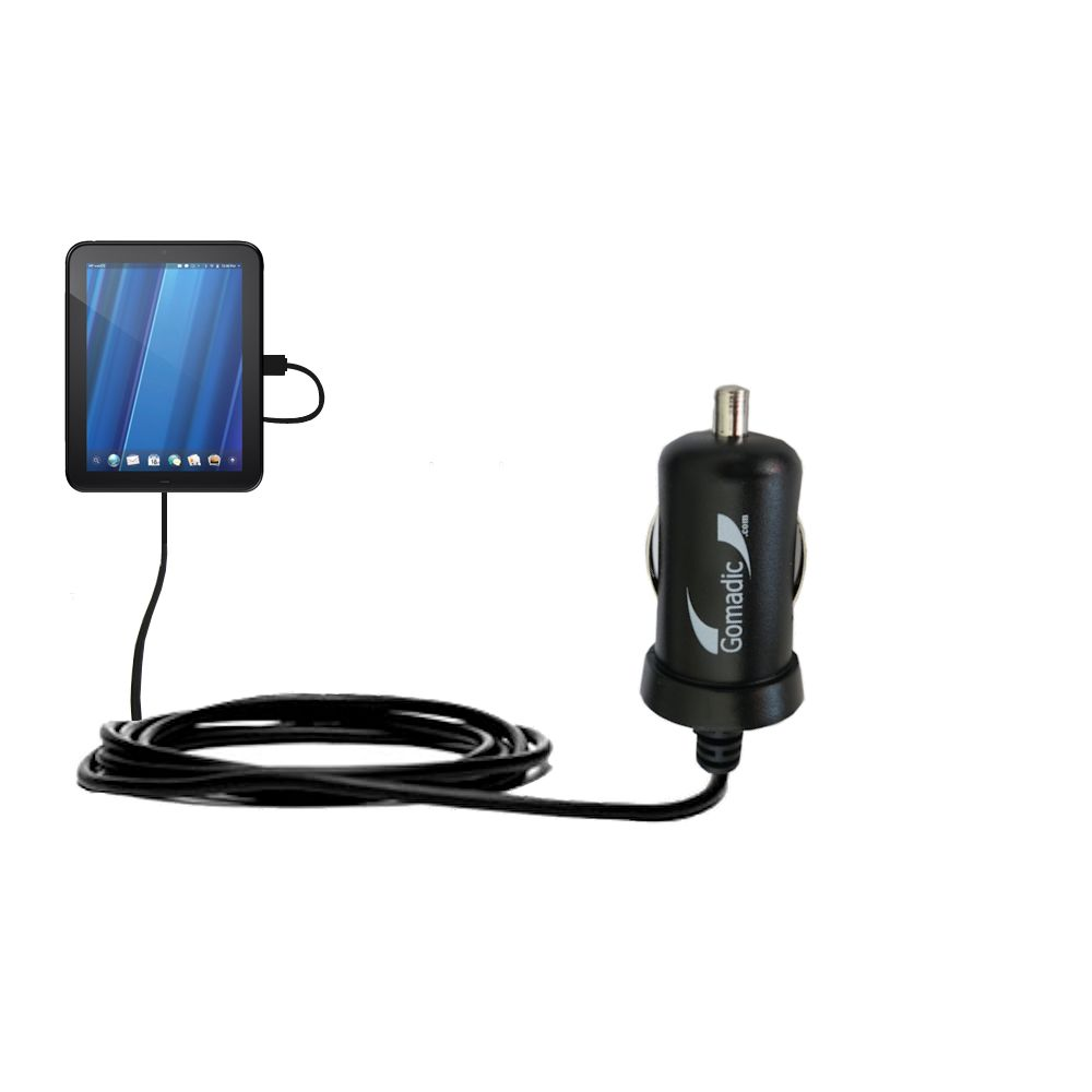Gomadic Intelligent Compact Car / Auto DC Charger suitable for the HP TouchPad - 2A / 10W power at half the size. Uses Gomadic TipExchange Technology