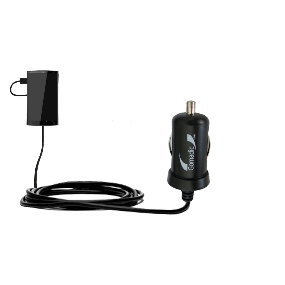 Gomadic Intelligent Compact Car / Auto DC Charger suitable for the HTC Zeta - 2A / 10W power at half the size. Uses Gomadic TipExchange Technology