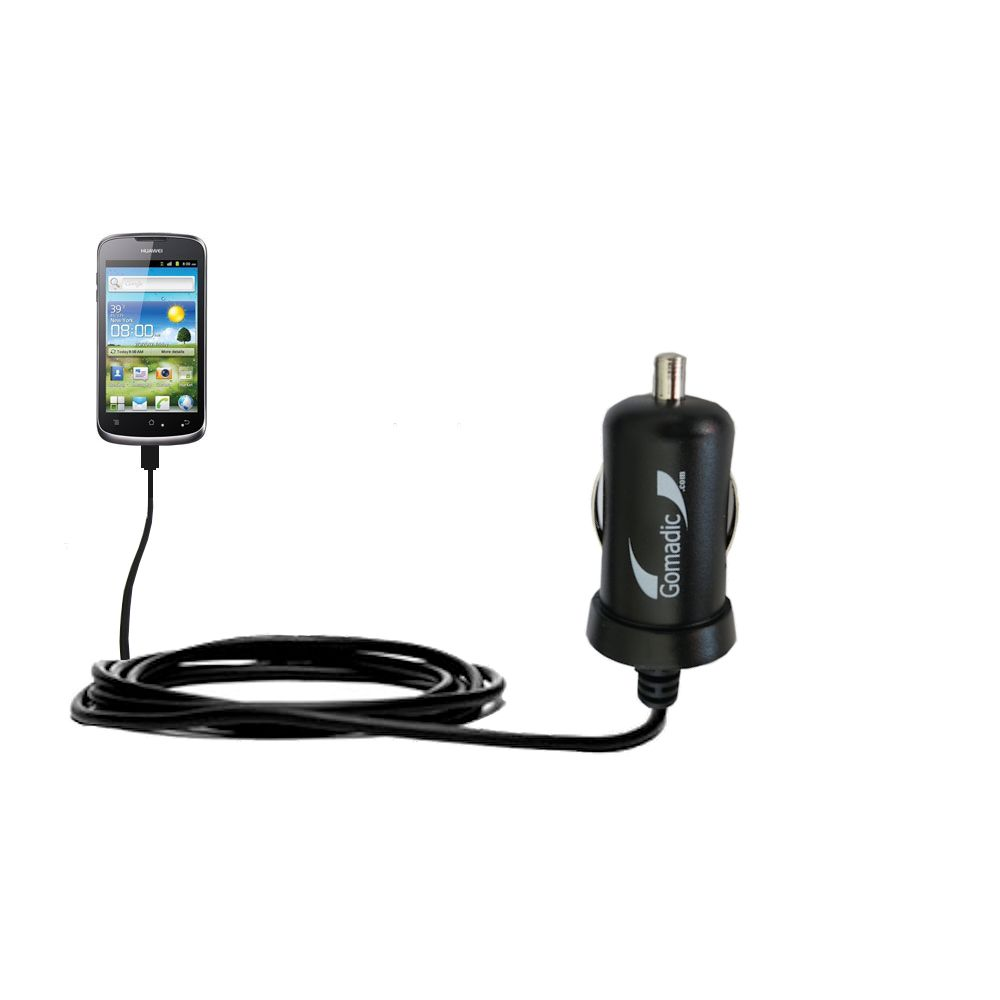 Gomadic Intelligent Compact Car / Auto DC Charger suitable for the Huawei U8815 - 2A / 10W power at half the size. Uses Gomadic TipExchange Technology