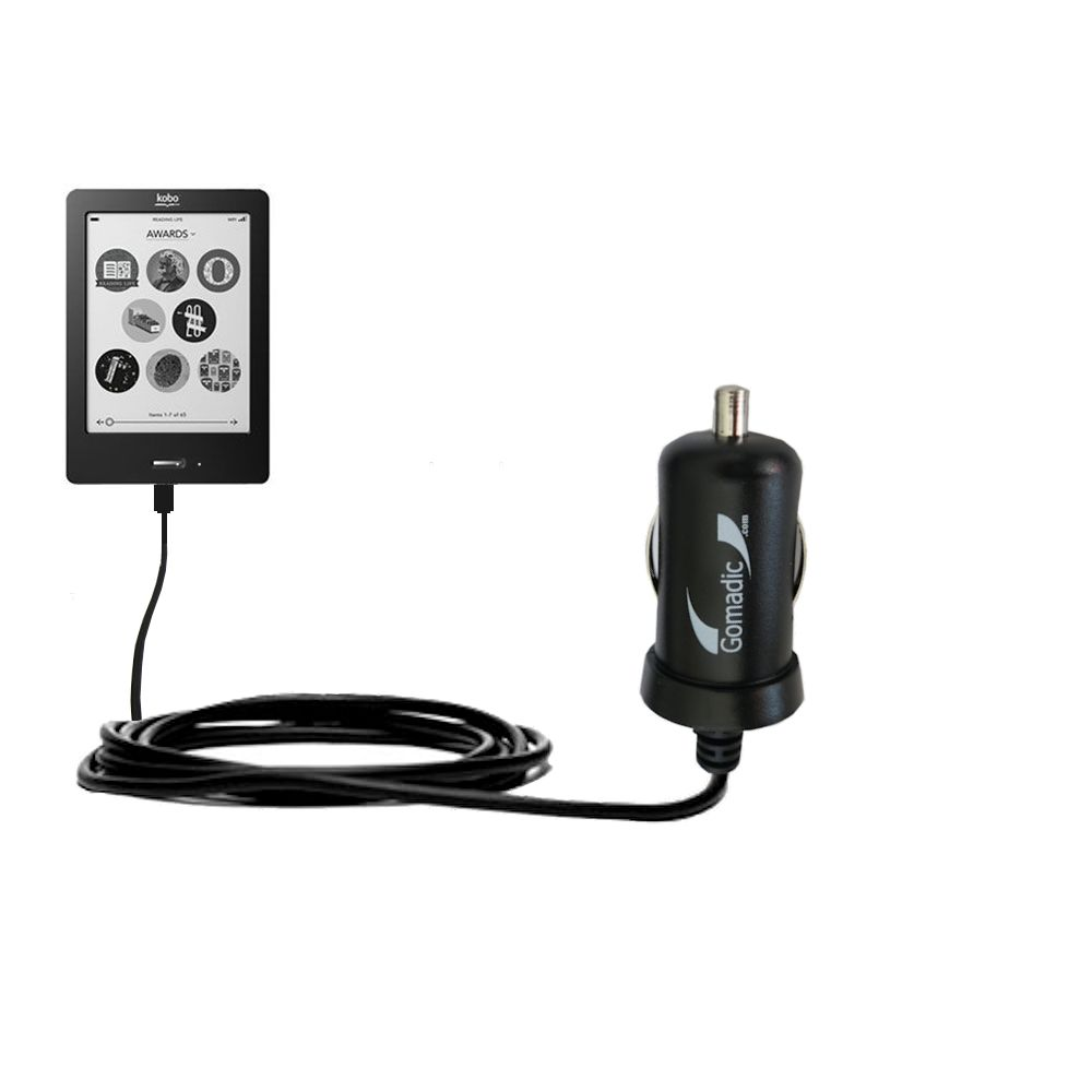 Gomadic Intelligent Compact Car / Auto DC Charger suitable for the Kobo eReader Touch - 2A / 10W power at half the size. Uses Gomadic TipExchange Technology