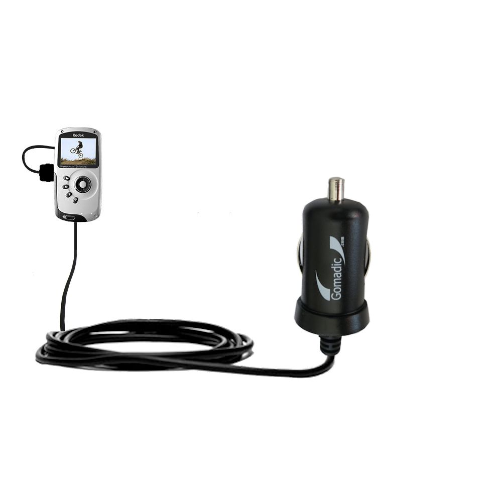Mini Car Charger compatible with the Kodak PlaySport Pocket Video Camera