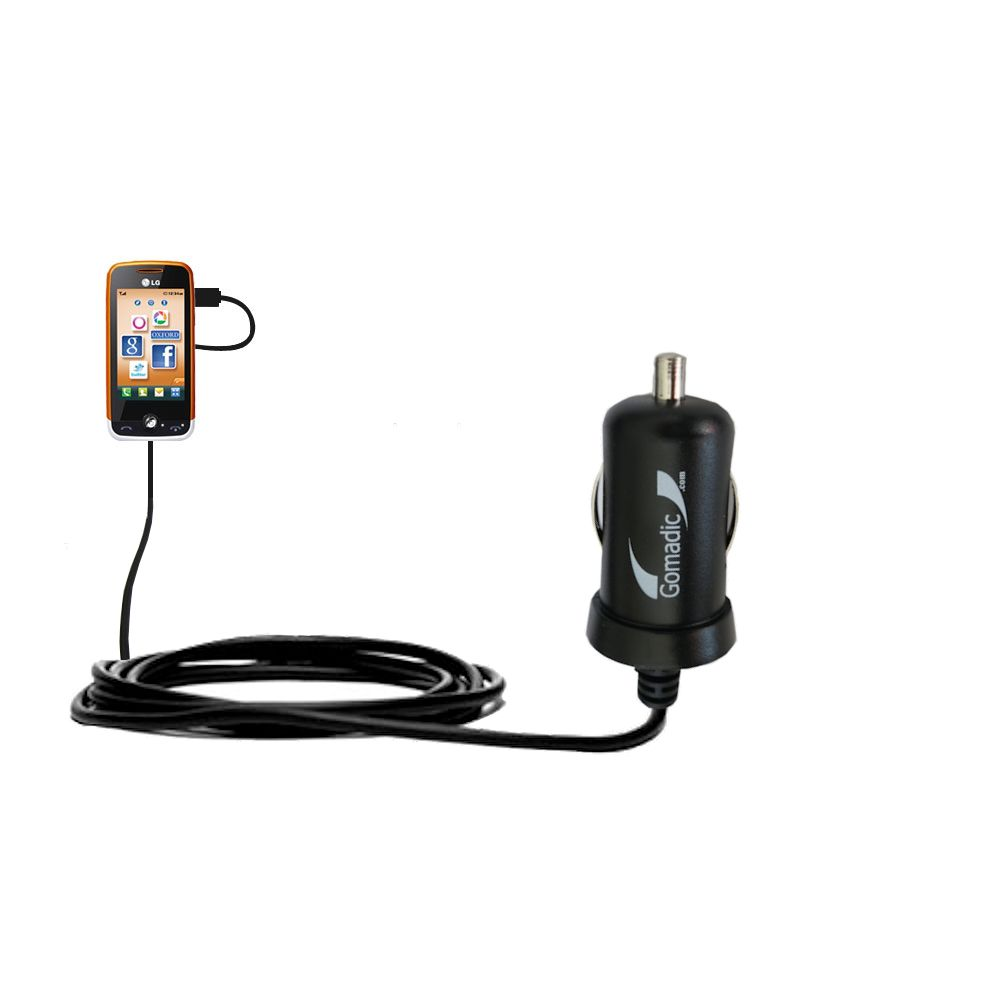 Gomadic Intelligent Compact Car / Auto DC Charger suitable for the LG Cookie Fresh (GS290) - 2A / 10W power at half the size. Uses Gomadic TipExchange Technology