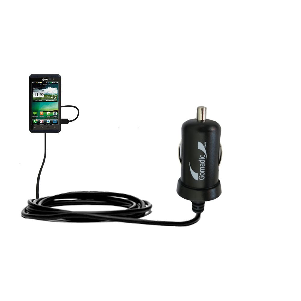 Gomadic Intelligent Compact Car / Auto DC Charger suitable for the LG Thrill 4G - 2A / 10W power at half the size. Uses Gomadic TipExchange Technology