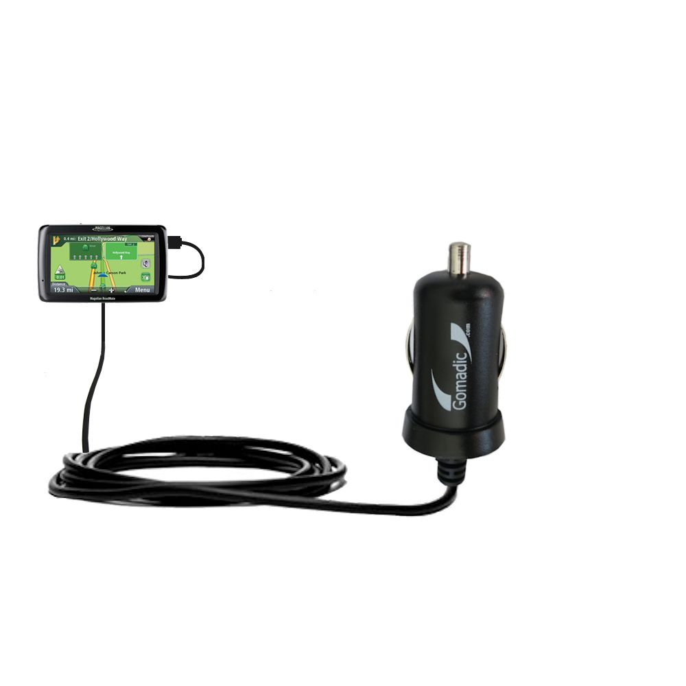 Gomadic Intelligent Compact Car / Auto DC Charger suitable for the Magellan Maestro 4250 - 2A / 10W power at half the size. Uses Gomadic TipExchange Technology