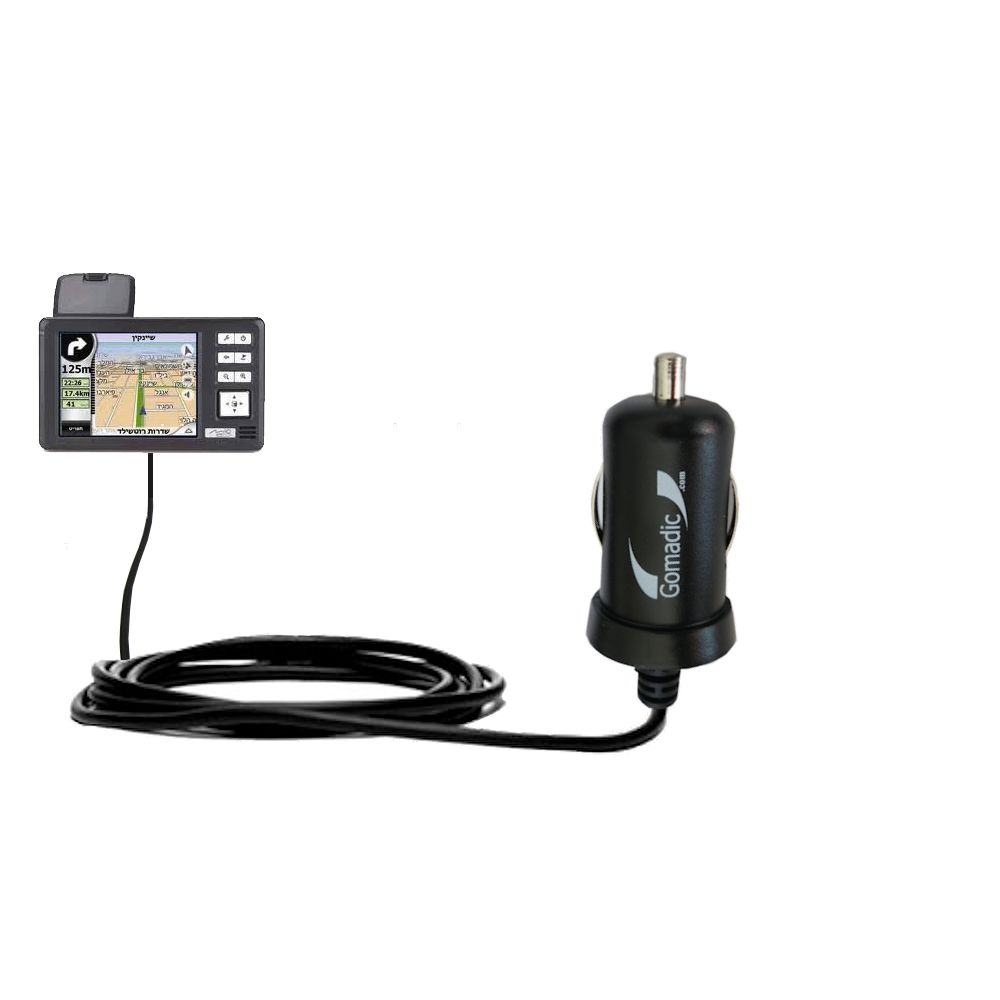 Gomadic Intelligent Compact Car / Auto DC Charger suitable for the Mio 169 - 2A / 10W power at half the size. Uses Gomadic TipExchange Technology