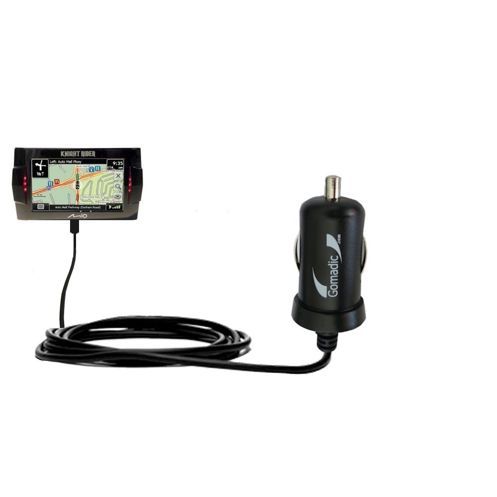 Gomadic Intelligent Compact Car / Auto DC Charger suitable for the Mio Knight Rider - 2A / 10W power at half the size. Uses Gomadic TipExchange Technology