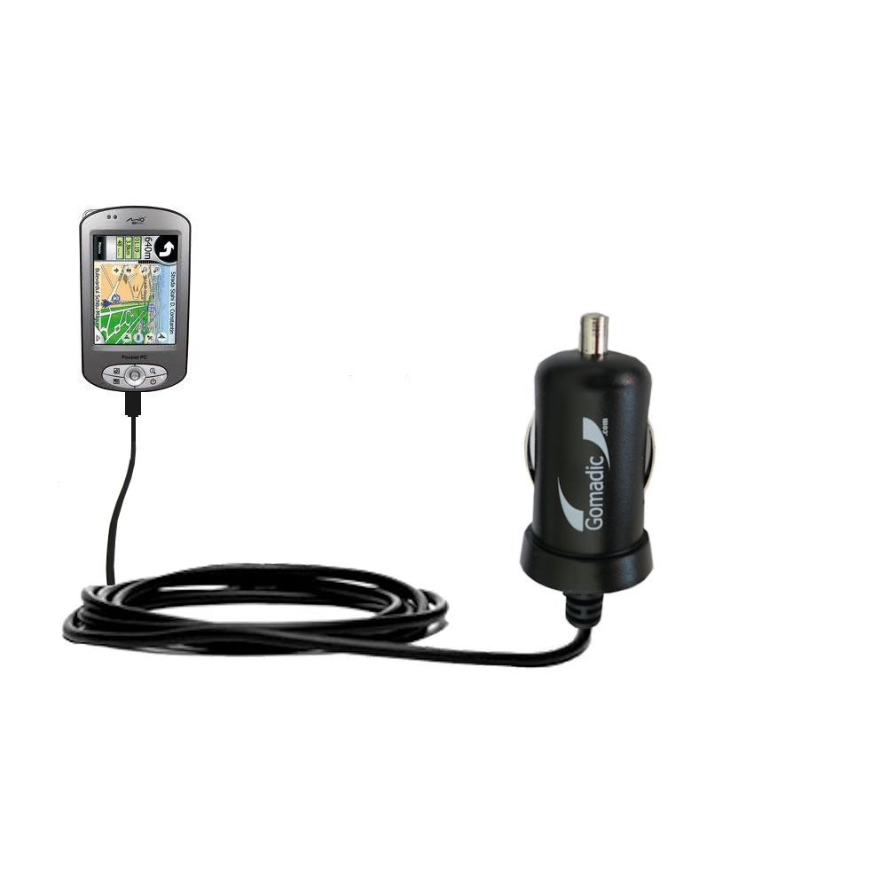 Gomadic Intelligent Compact Car / Auto DC Charger suitable for the Mio P550 - 2A / 10W power at half the size. Uses Gomadic TipExchange Technology