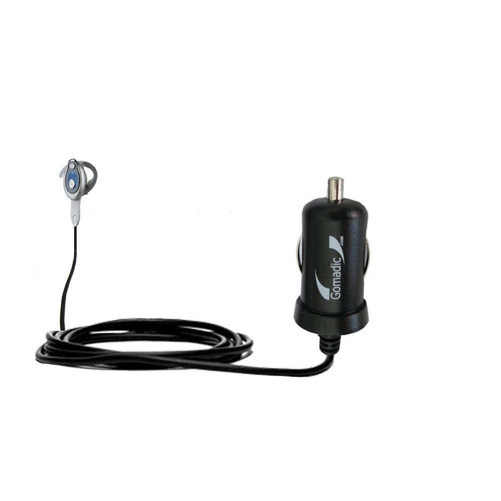 Gomadic Intelligent Compact Car / Auto DC Charger suitable for the Motorola HS850 - 2A / 10W power at half the size. Uses Gomadic TipExchange Technology