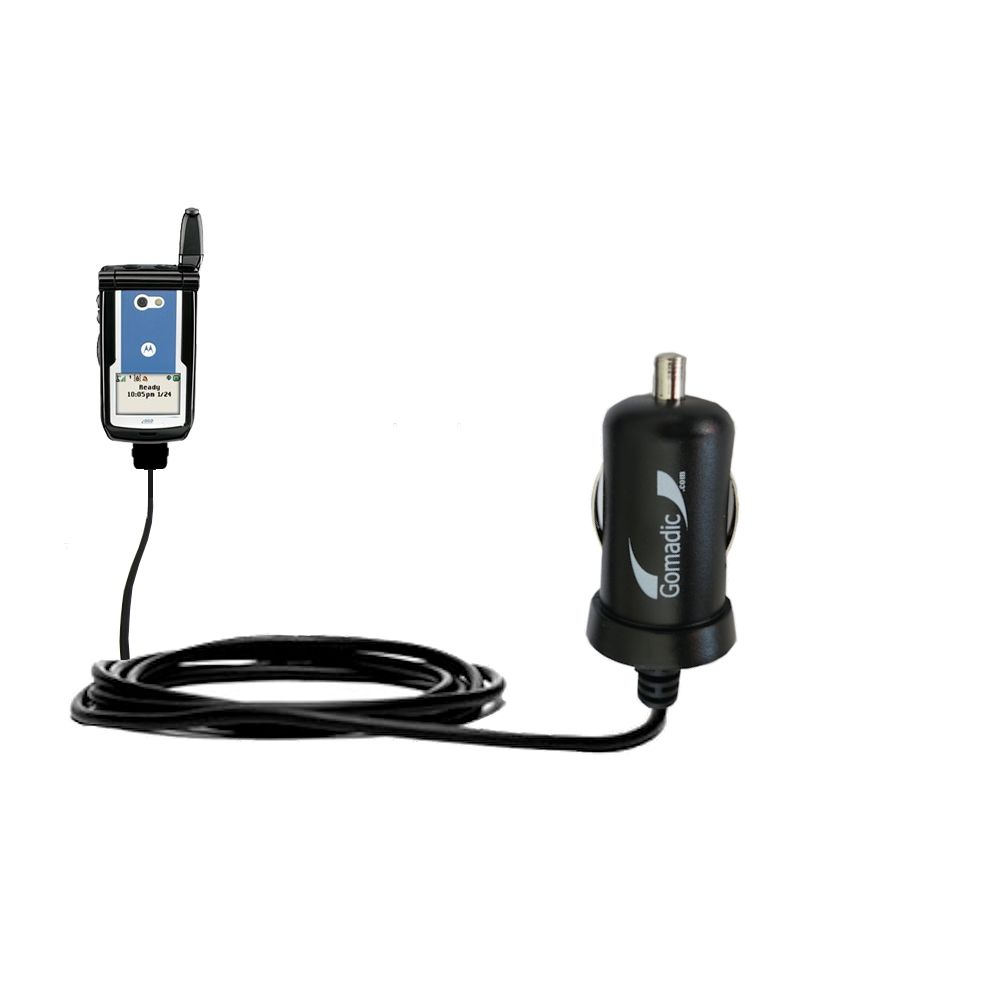 Gomadic Intelligent Compact Car / Auto DC Charger suitable for the Motorola i860 - 2A / 10W power at half the size. Uses Gomadic TipExchange Technology