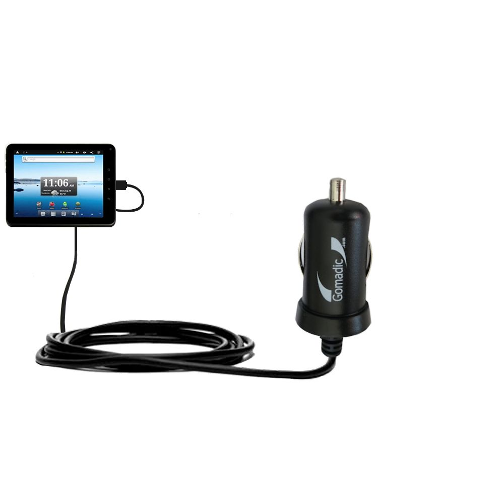 Gomadic Intelligent Compact Car / Auto DC Charger suitable for the Nextbook Premium8 Tablet - 2A / 10W power at half the size. Uses Gomadic TipExchange Technology