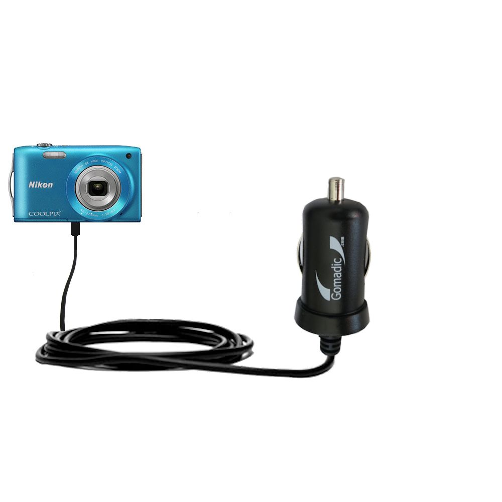 Gomadic Intelligent Compact Car / Auto DC Charger suitable for the Nikon Coolpix S3200 / S3300 - 2A / 10W power at half the size. Uses Gomadic TipExchange Technology