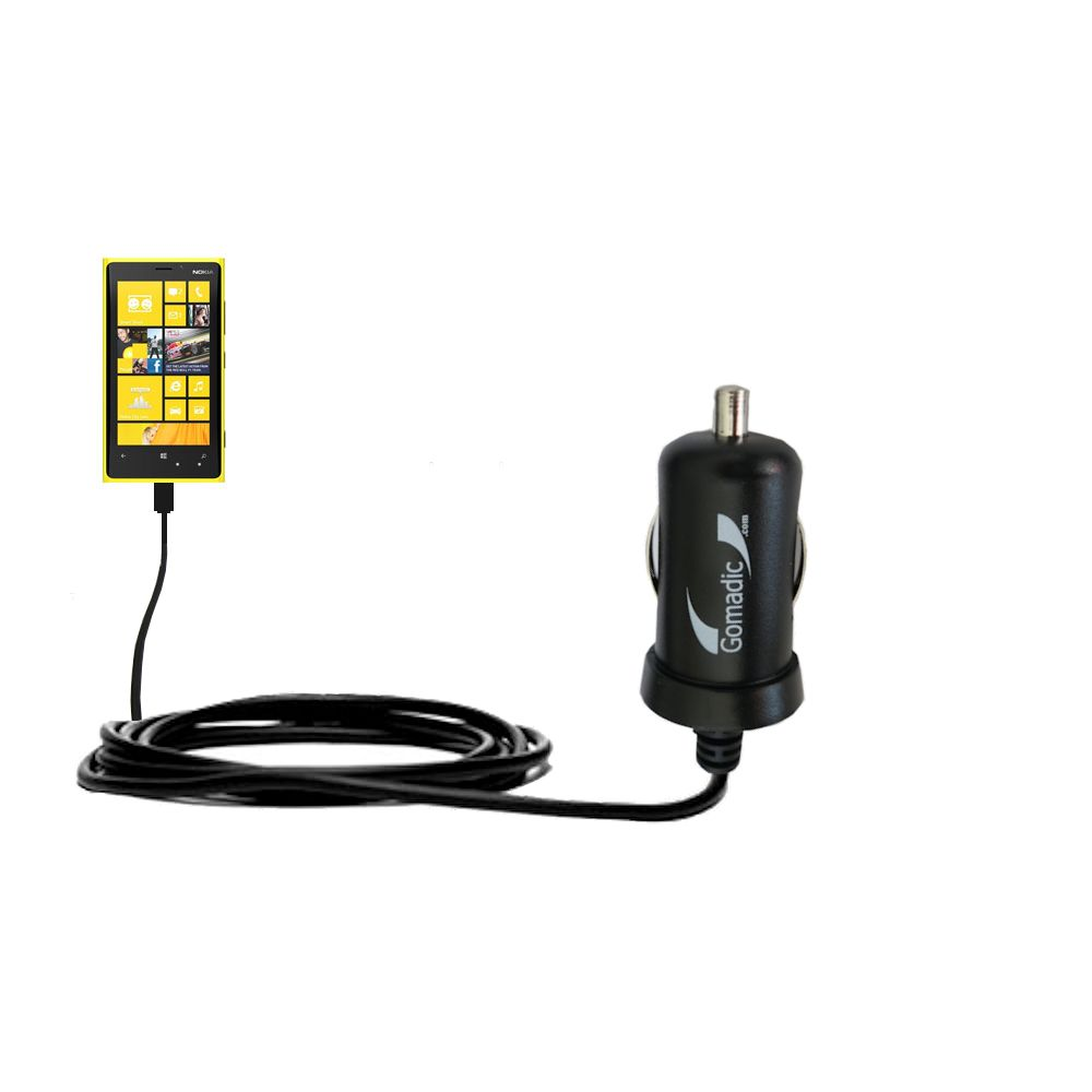 Gomadic Intelligent Compact Car / Auto DC Charger suitable for the Nokia Lumia 920 - 2A / 10W power at half the size. Uses Gomadic TipExchange Technology