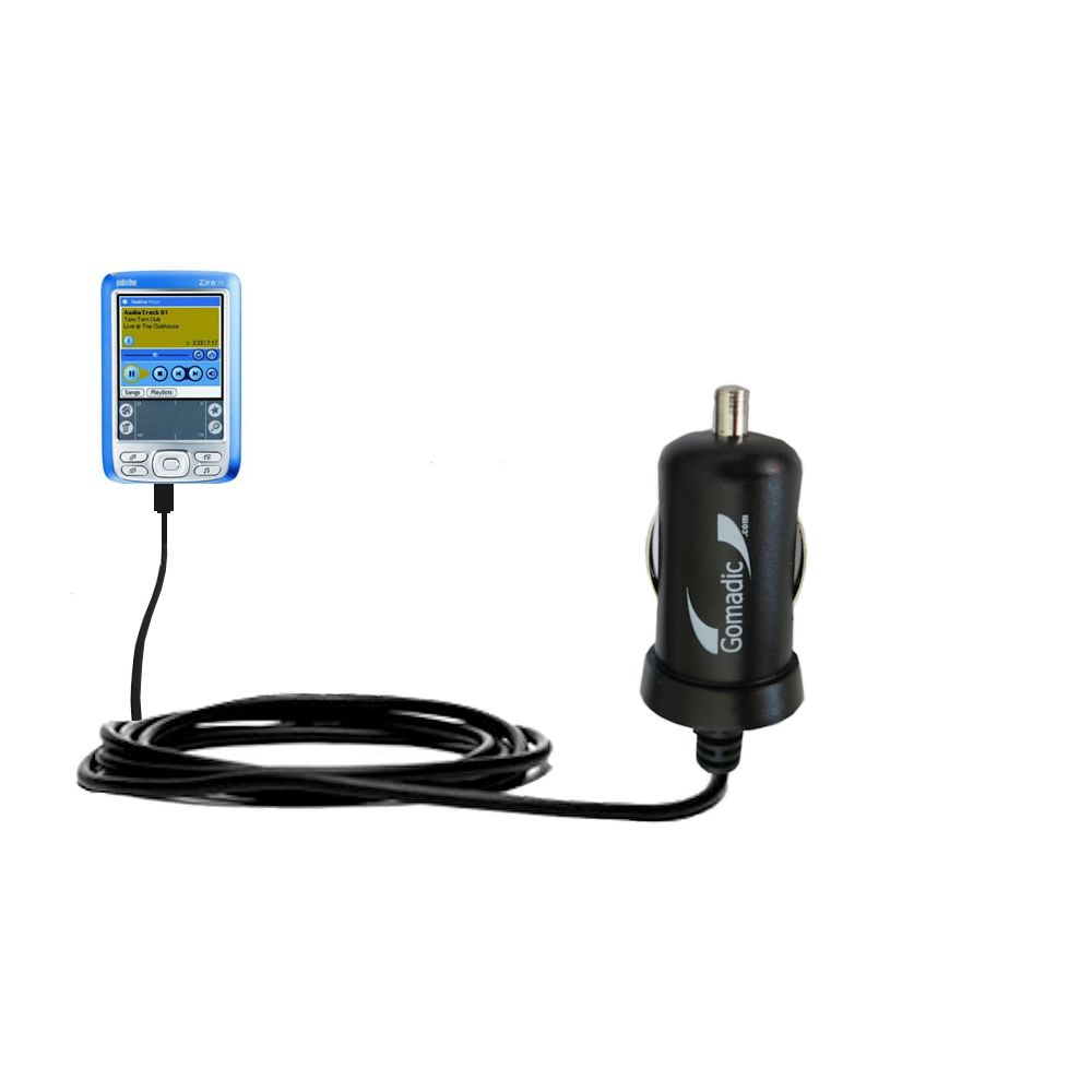 Gomadic Intelligent Compact Car / Auto DC Charger suitable for the Palm palm Zire 72s - 2A / 10W power at half the size. Uses Gomadic TipExchange Technology