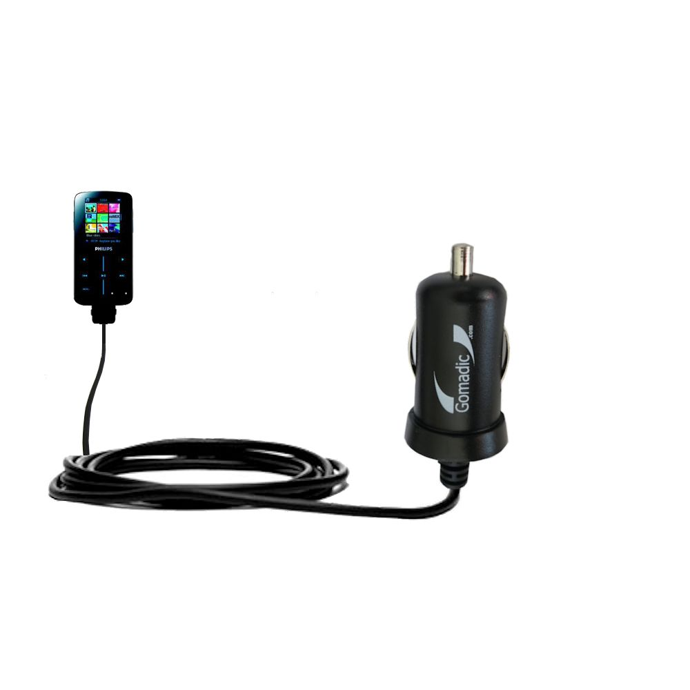 Gomadic Intelligent Compact Car / Auto DC Charger suitable for the Philips GoGear SA9325/00 - 2A / 10W power at half the size. Uses Gomadic TipExchange Technology