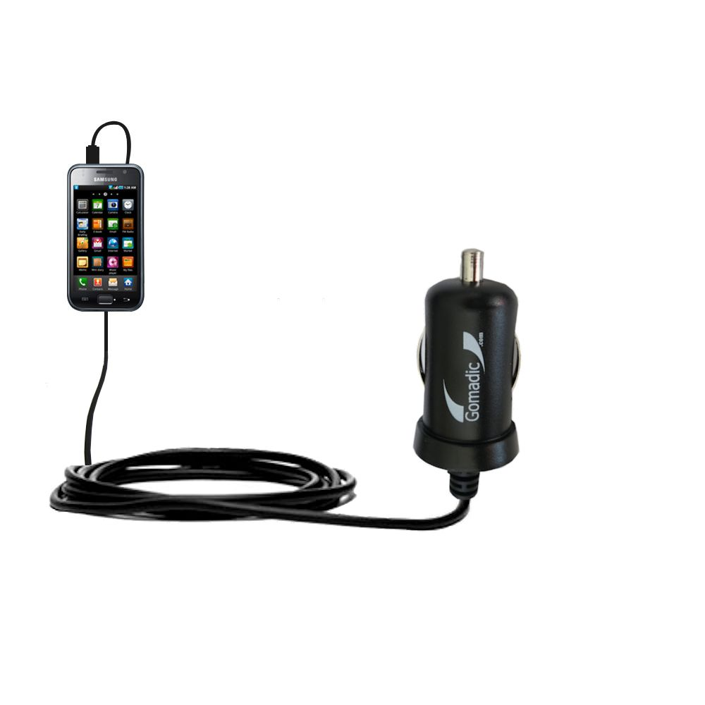 Gomadic Intelligent Compact Car / Auto DC Charger suitable for the Samsung Galaxy S - 2A / 10W power at half the size. Uses Gomadic TipExchange Technology