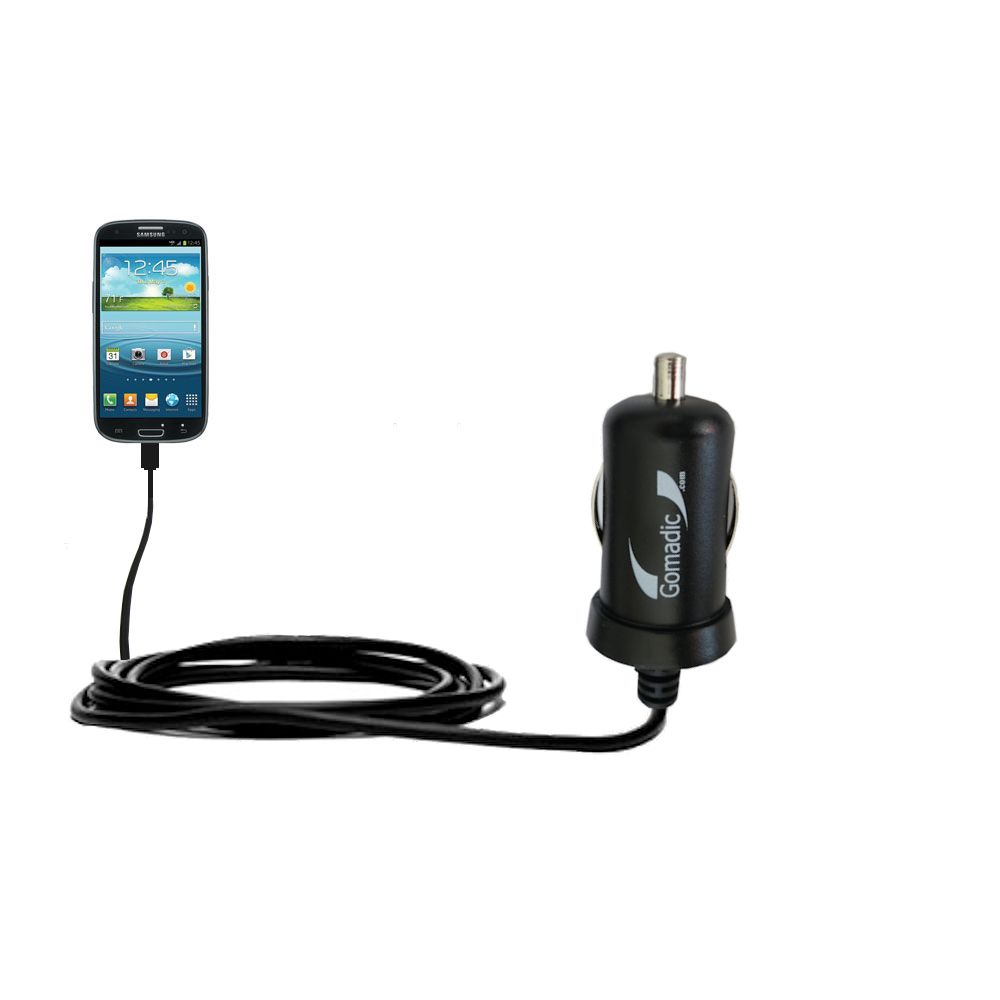 Gomadic Intelligent Compact Car / Auto DC Charger suitable for the Samsung Galaxy S III - 2A / 10W power at half the size. Uses Gomadic TipExchange Technology