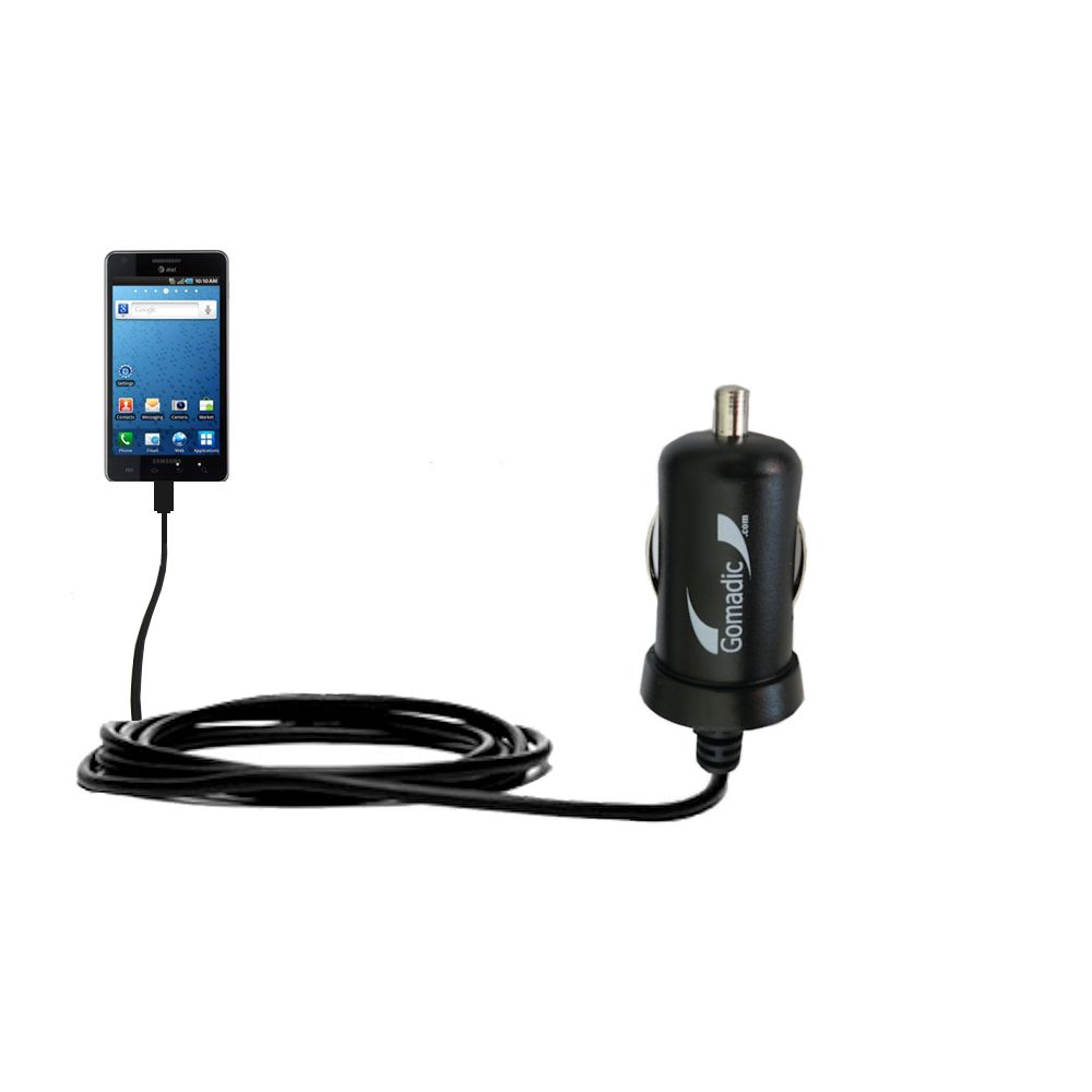 Gomadic Intelligent Compact Car / Auto DC Charger suitable for the Samsung Infuse 4G - 2A / 10W power at half the size. Uses Gomadic TipExchange Technology