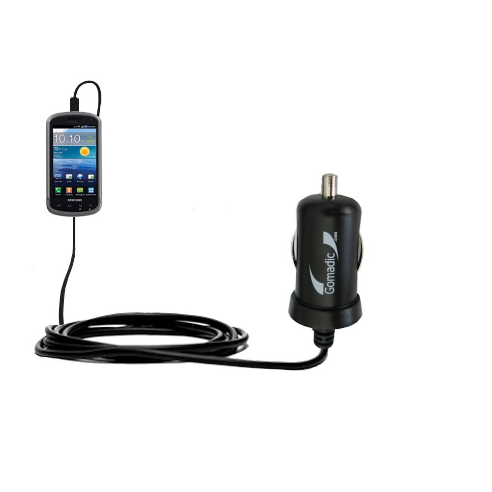 Gomadic Intelligent Compact Car / Auto DC Charger suitable for the Samsung Stratosphere - 2A / 10W power at half the size. Uses Gomadic TipExchange Technology
