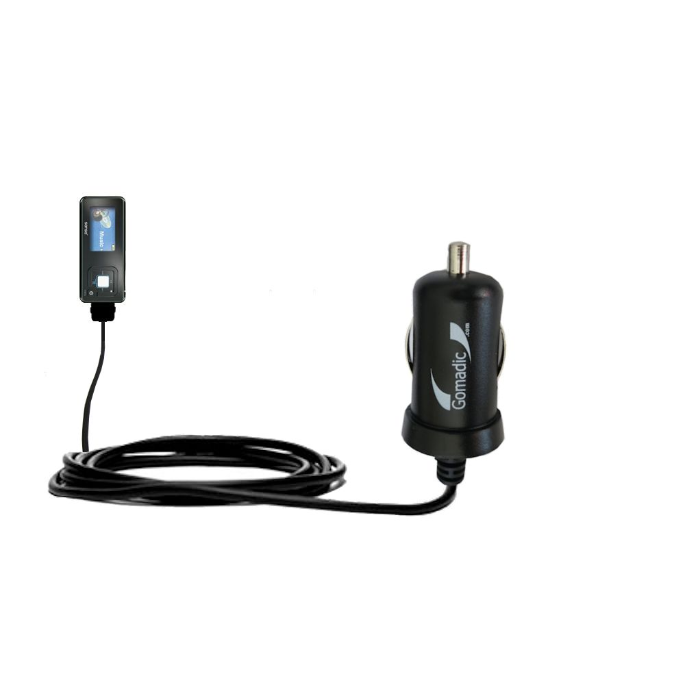 Gomadic Intelligent Compact Car / Auto DC Charger suitable for the Sandisk Sansa c240 - 2A / 10W power at half the size. Uses Gomadic TipExchange Technology