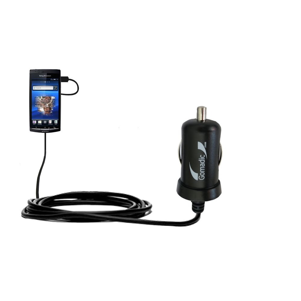 Gomadic Intelligent Compact Car / Auto DC Charger suitable for the Sony Ericsson LT15i - 2A / 10W power at half the size. Uses Gomadic TipExchange Technology