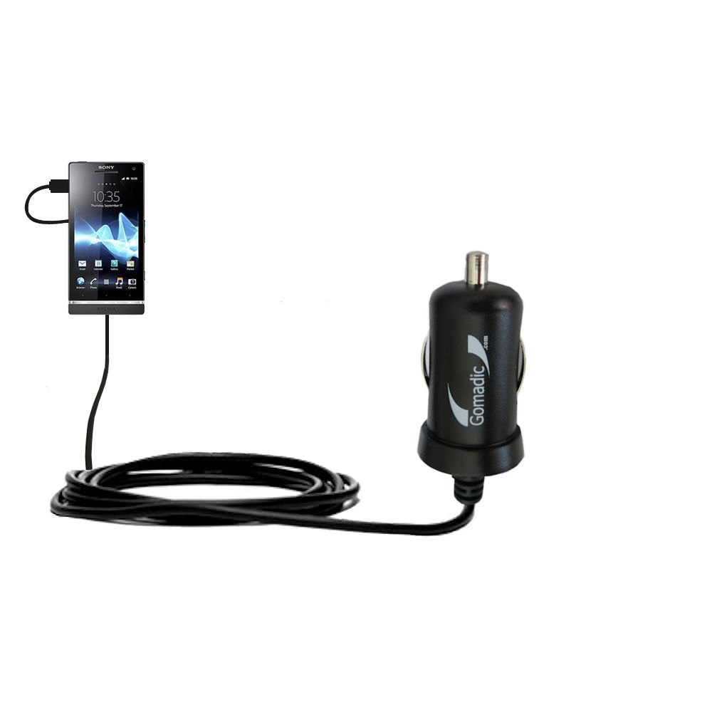 Gomadic Intelligent Compact Car / Auto DC Charger suitable for the Sony Ericsson Xperia S - 2A / 10W power at half the size. Uses Gomadic TipExchange Technology