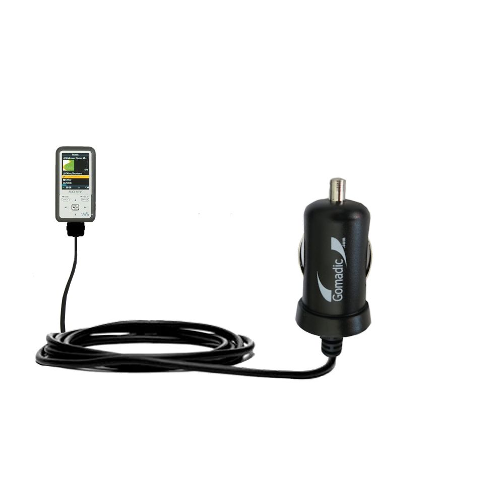 Gomadic Intelligent Compact Car / Auto DC Charger suitable for the Sony Walkman NWZ-S616 - 2A / 10W power at half the size. Uses Gomadic TipExchange Technology