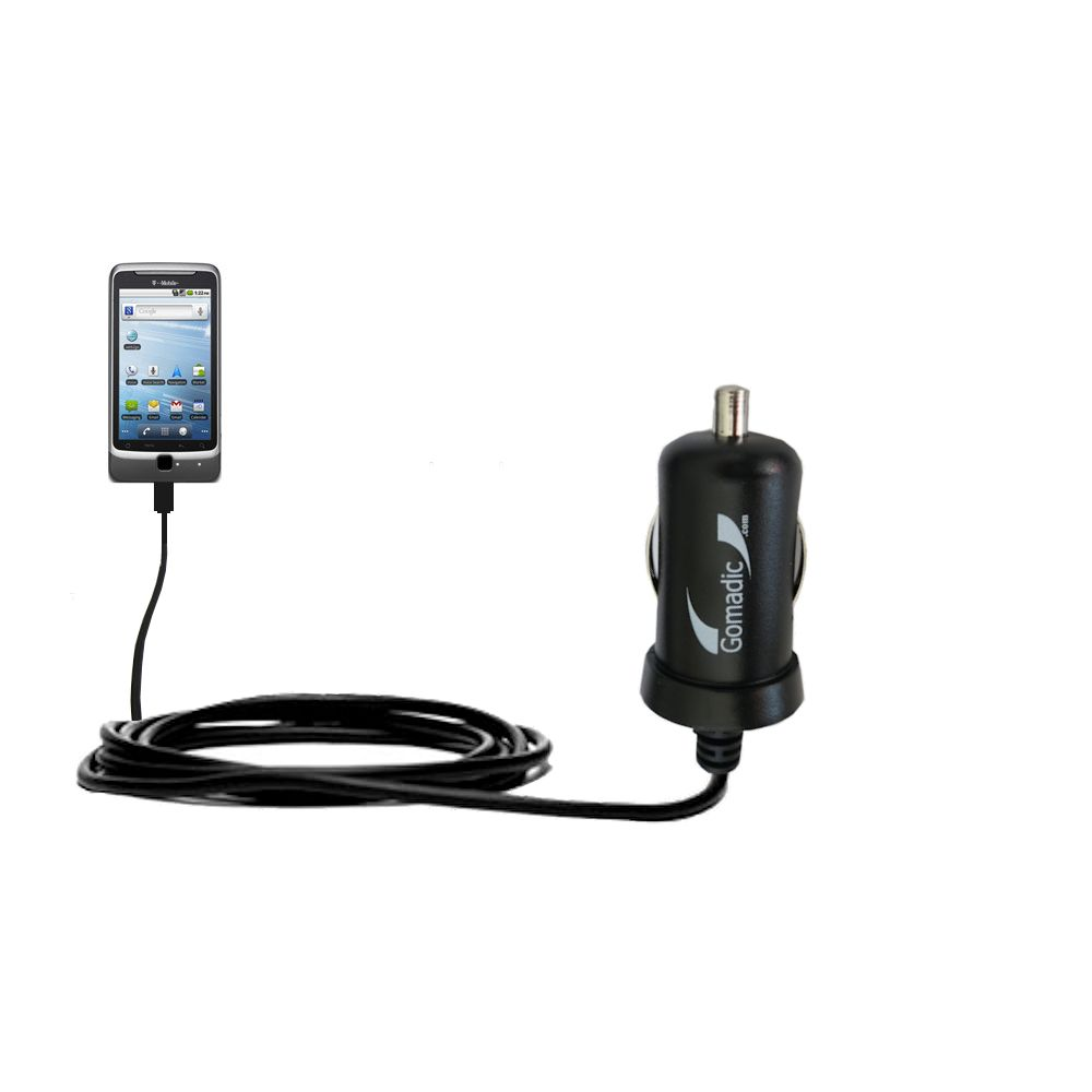 Gomadic Intelligent Compact Car / Auto DC Charger suitable for the T-Mobile G2 - 2A / 10W power at half the size. Uses Gomadic TipExchange Technology