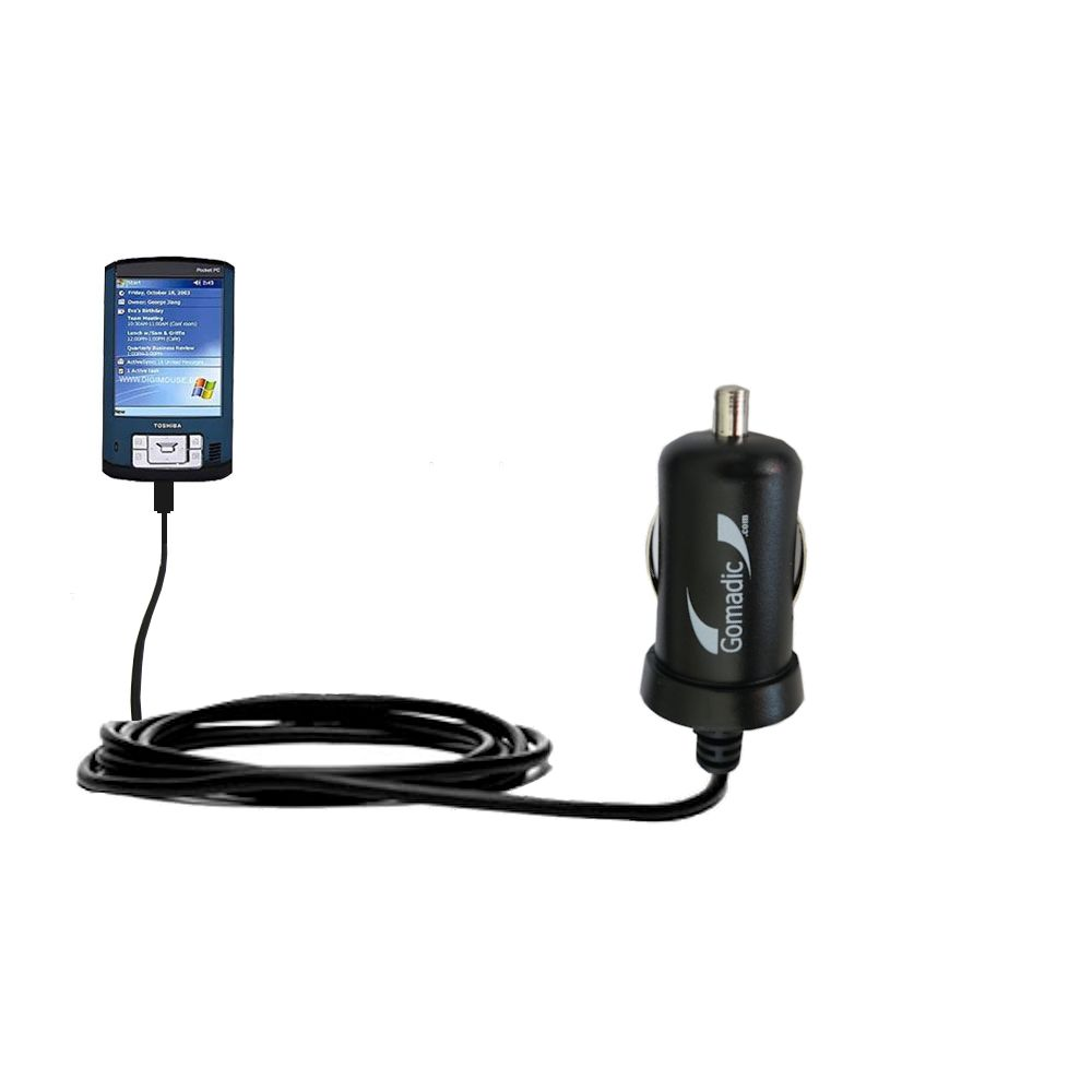 Gomadic Intelligent Compact Car / Auto DC Charger suitable for the Toshiba e805 - 2A / 10W power at half the size. Uses Gomadic TipExchange Technology