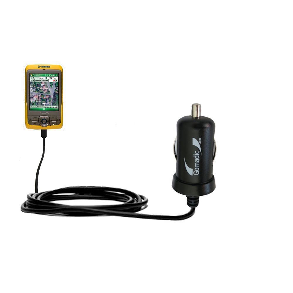 Gomadic Intelligent Compact Car / Auto DC Charger suitable for the Trimble Juno SB - 2A / 10W power at half the size. Uses Gomadic TipExchange Technology