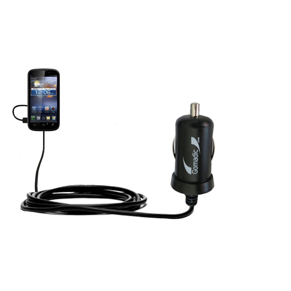 Gomadic Intelligent Compact Car / Auto DC Charger suitable for the ZTE Awe - 2A / 10W power at half the size. Uses Gomadic TipExchange Technology