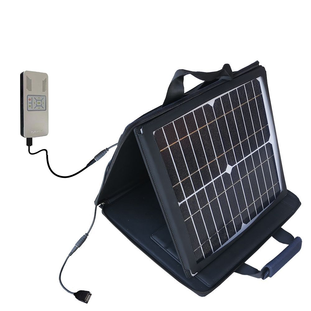Gomadic SunVolt High Output Portable Solar Power Station designed for the Aiptek PocketCinema v50 - Can charge multiple devices with outlet speeds