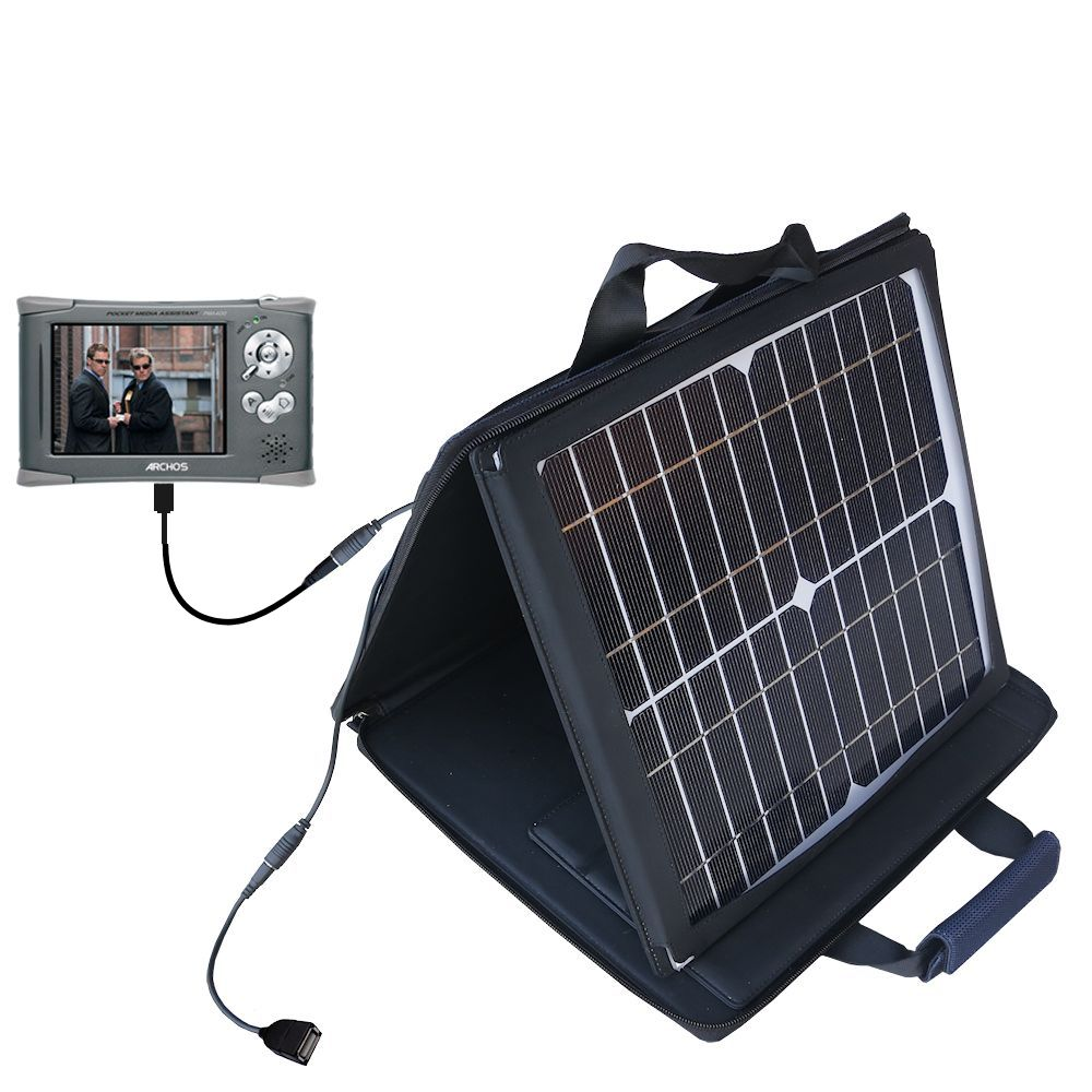 Gomadic SunVolt High Output Portable Solar Power Station designed for the Archos PMA 400 - Can charge multiple devices with outlet speeds