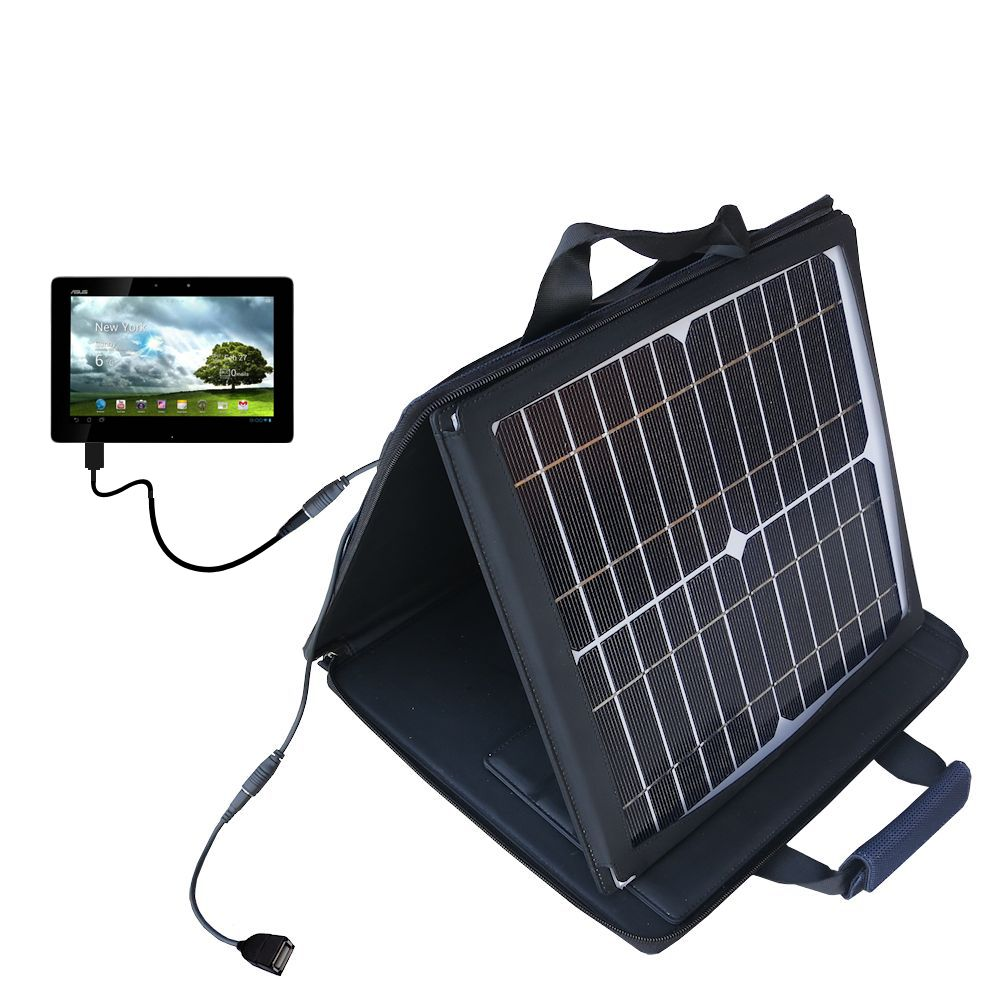 SunVolt Solar Charger compatible with the Asus MeMo Pad Smart 10 and one other device - charge from sun at wall outlet-like speed