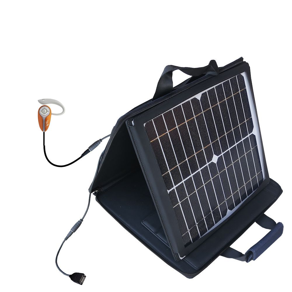 Gomadic SunVolt High Output Portable Solar Power Station designed for the BlueAnt X3 micro - Can charge multiple devices with outlet speeds
