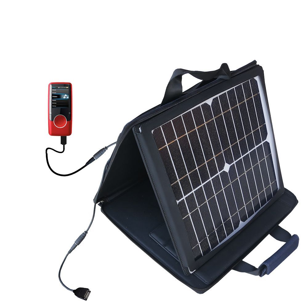 Gomadic SunVolt High Output Portable Solar Power Station designed for the Coby MP620 Video MP3 Player - Can charge multiple devices with outlet speeds