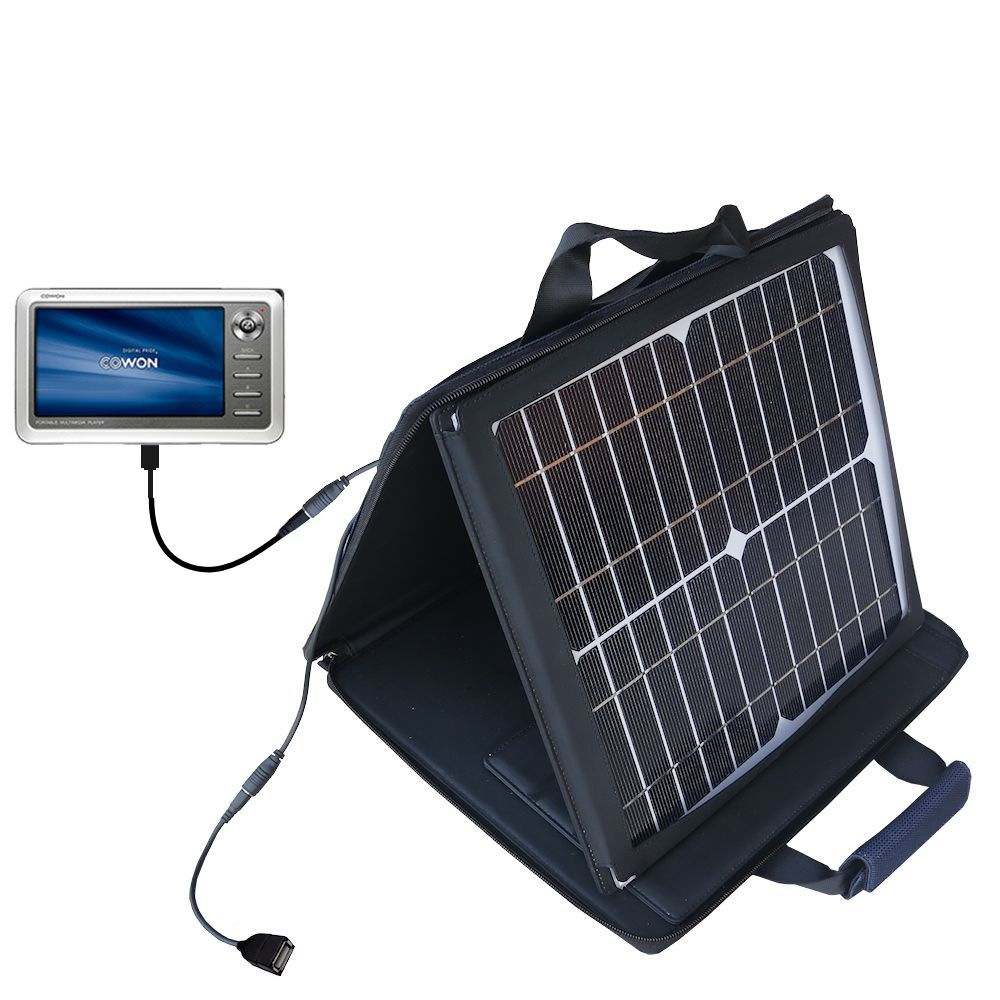 SunVolt Solar Charger compatible with the Cowon iAudio A2 Portable Media Player and one other device - charge from sun at wall outlet-like speed