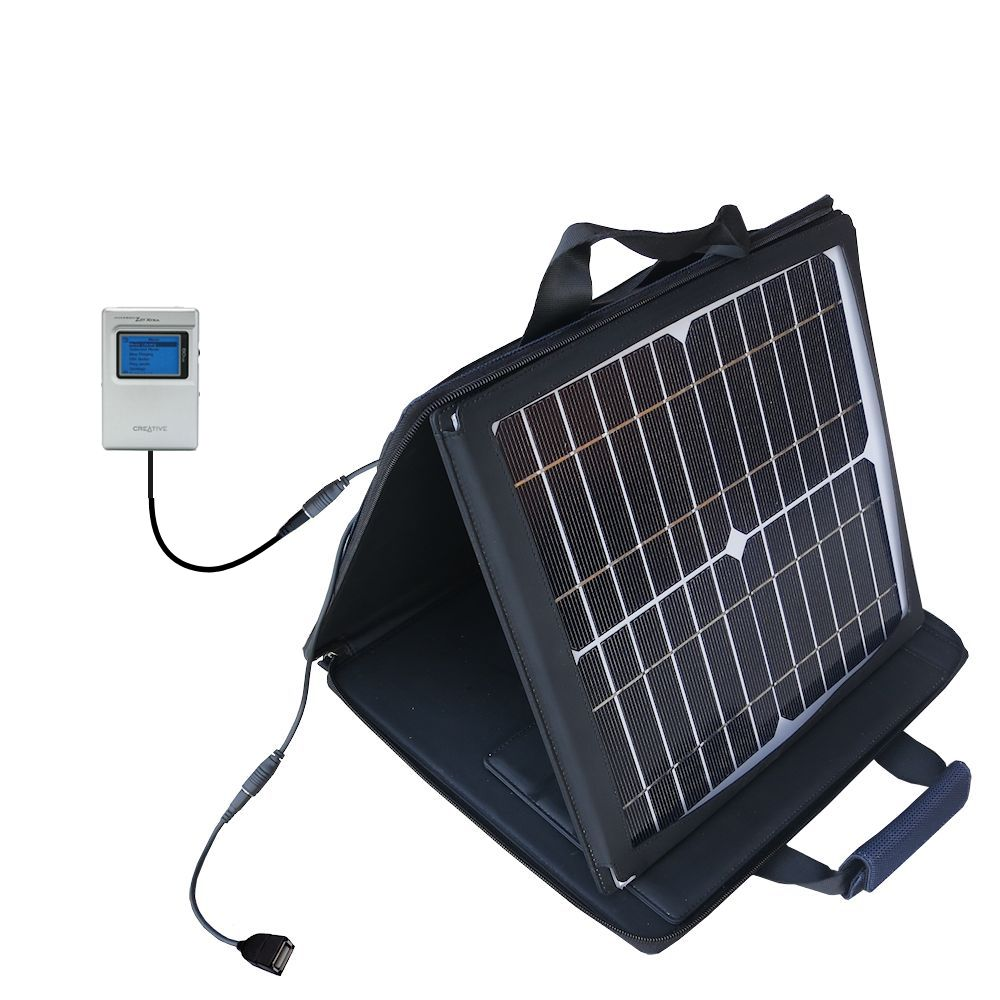 Gomadic SunVolt High Output Portable Solar Power Station designed for the Creative Jukebox Zen NX - Can charge multiple devices with outlet speeds