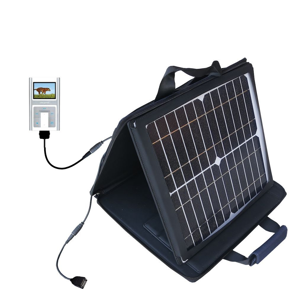 SunVolt Solar Charger compatible with the Creative Zen Sleek Photo and one other device - charge from sun at wall outlet-like speed