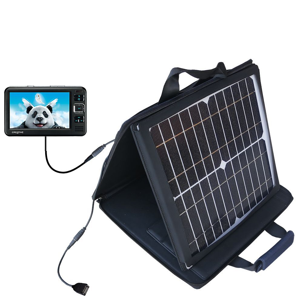 Gomadic SunVolt High Output Portable Solar Power Station designed for the Creative Zen Vision W - Can charge multiple devices with outlet speeds